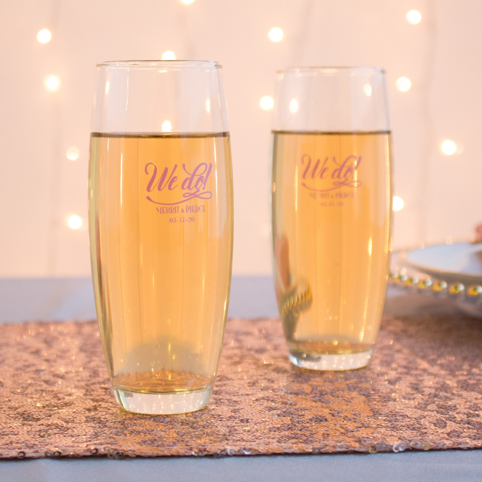 Personalized We Do Stemless Champagne Flutes
