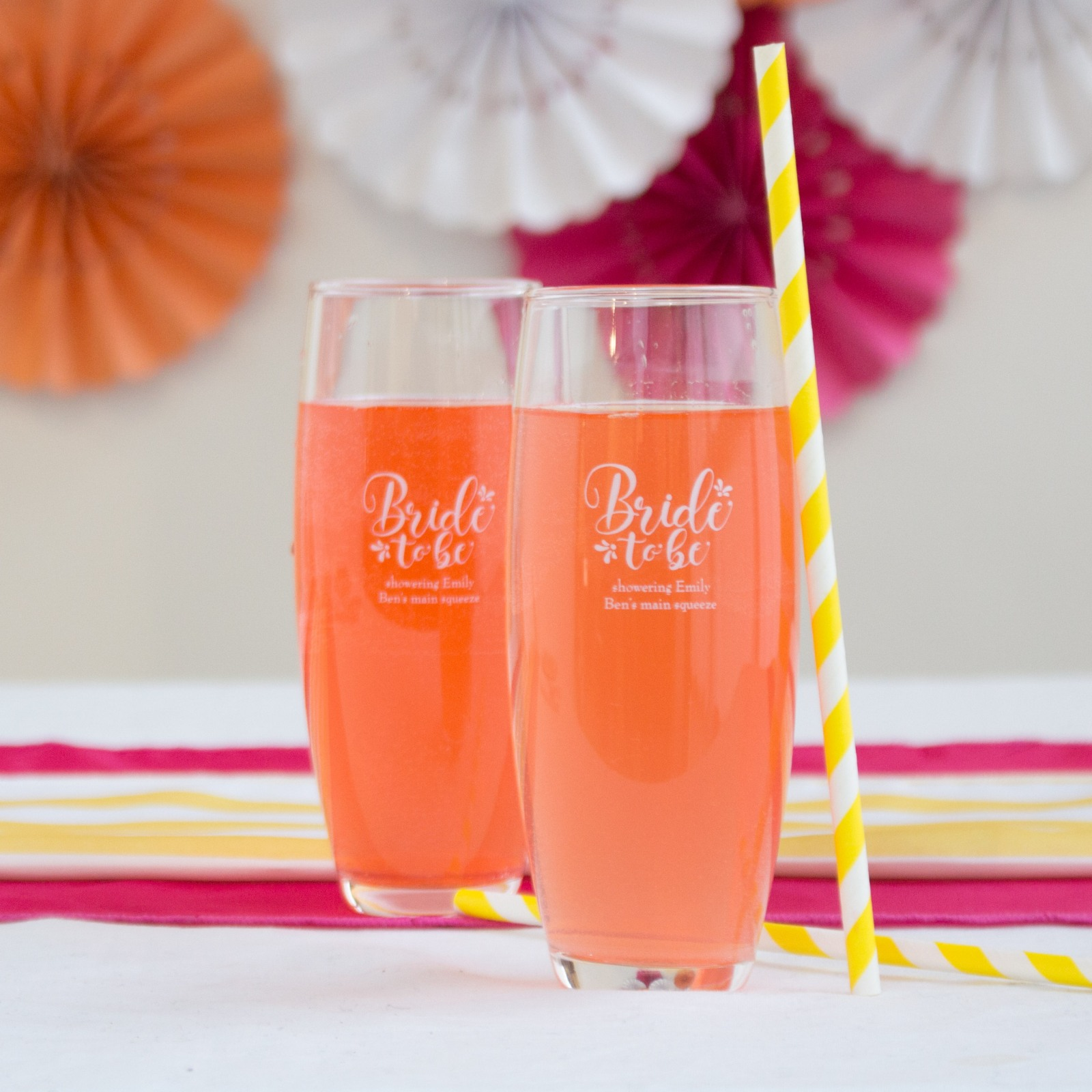 Personalized Bride to Be Stemless Champagne Flutes