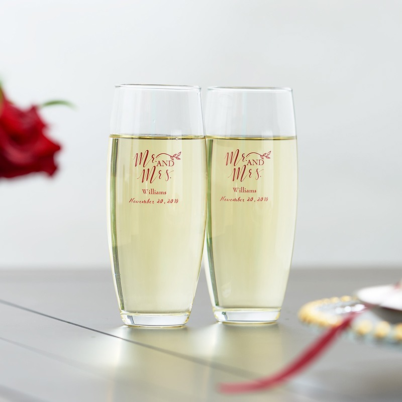 Personalized Stemless Champagne Flute- Mr. & Mrs.