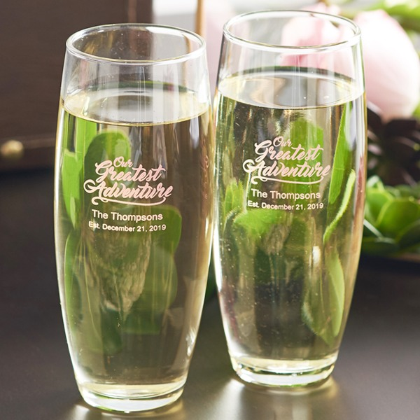 Personalized Greatest Adventure Stemless Champagne Flutes