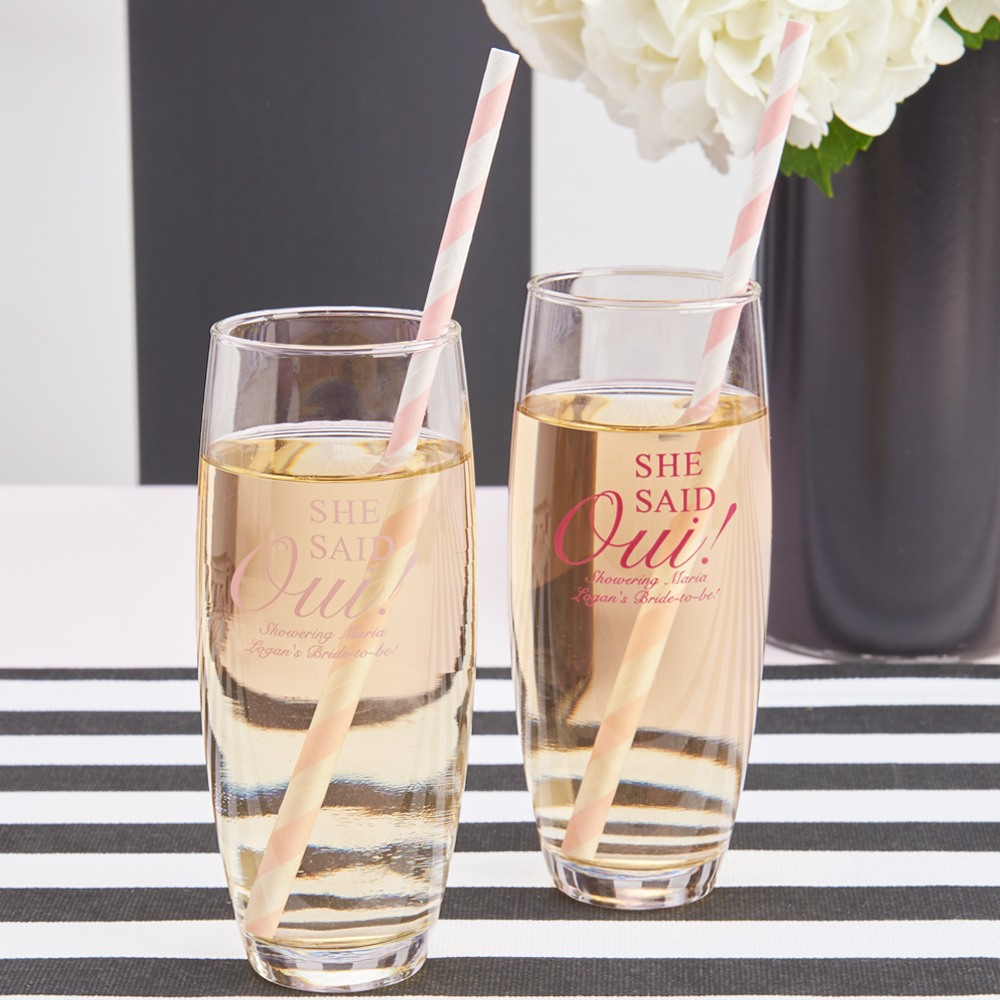 Personalized She Said Oui Stemless Champagne Flute