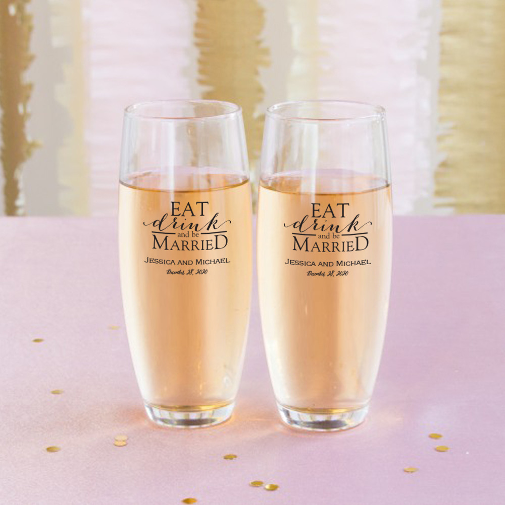 Personalized Eat Drink Be Married Stemless Champagne Flute