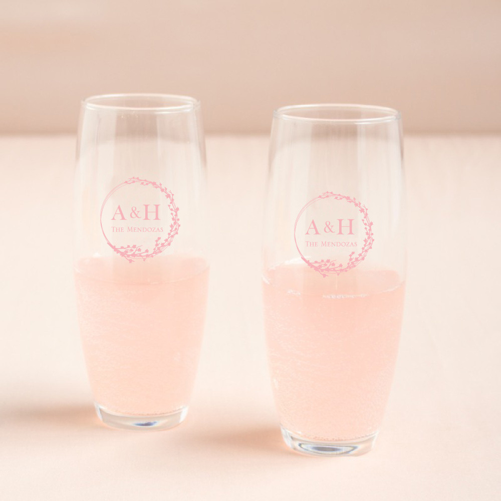 Personalized Cherry Blossom Stemless Champagne Flute