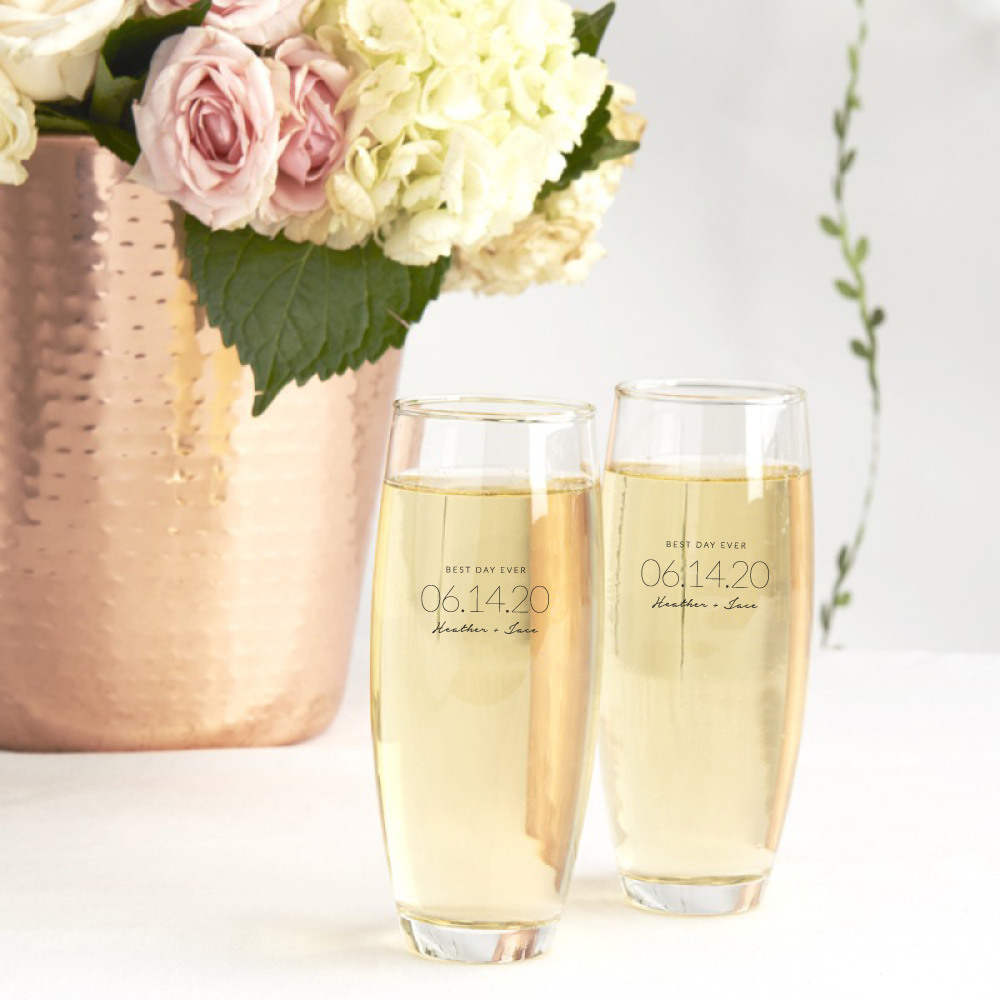 Personalized Wedding Date Stemless Champagne Flute
