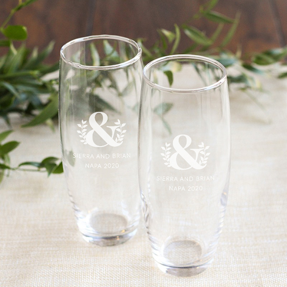 Personalized Eco Ampersand Stemless Champagne Flute