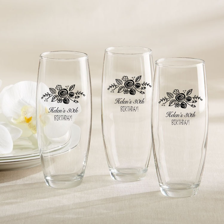 Personalized Birthday Stemless Champagne Flutes
