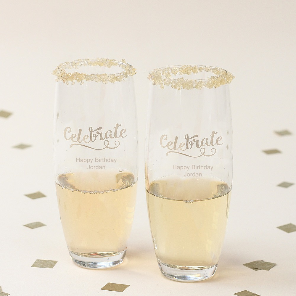Personalized Birthday Celebrate Stemless Champagne Flutes