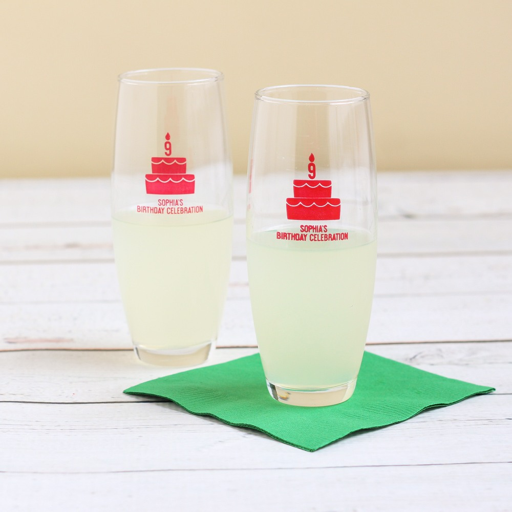 Personalized Birthday Cake Stemless Champagne Flutes