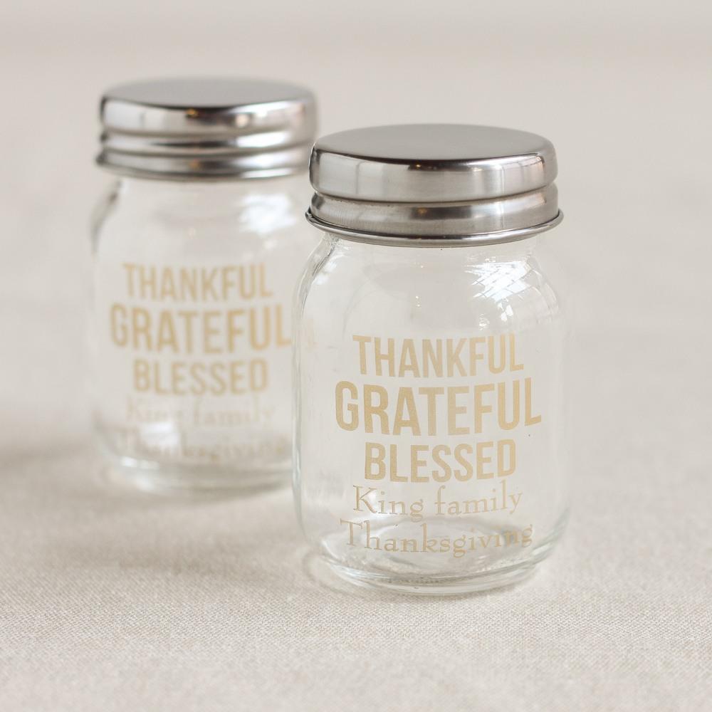 Personalized Thanksgiving Printed Mini Mason Jars
