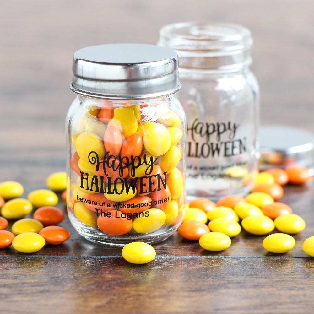 Personalized Halloween Printed Mini Mason Jars