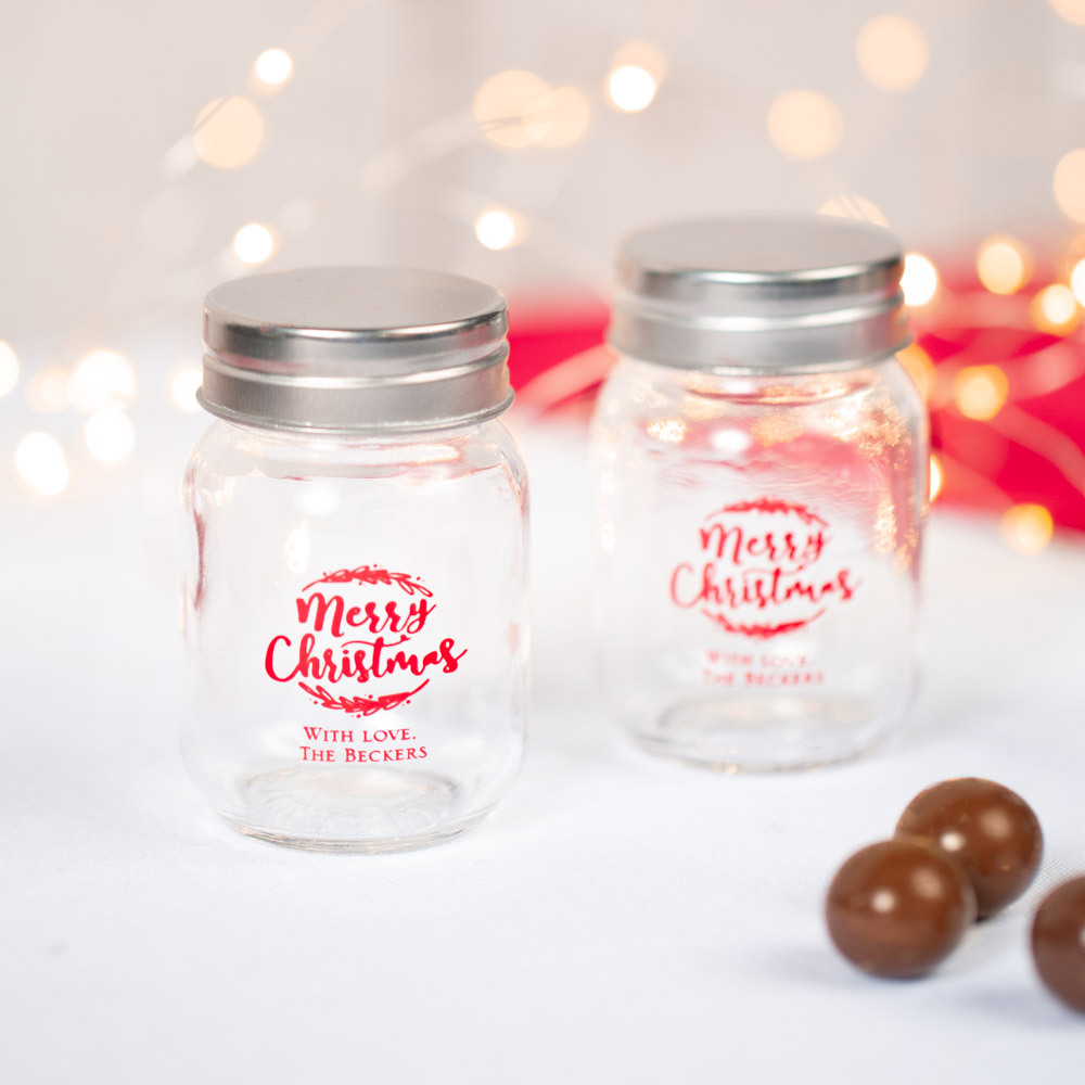 Personalized Happy Holiday's Printed Party Mini Mason Jars