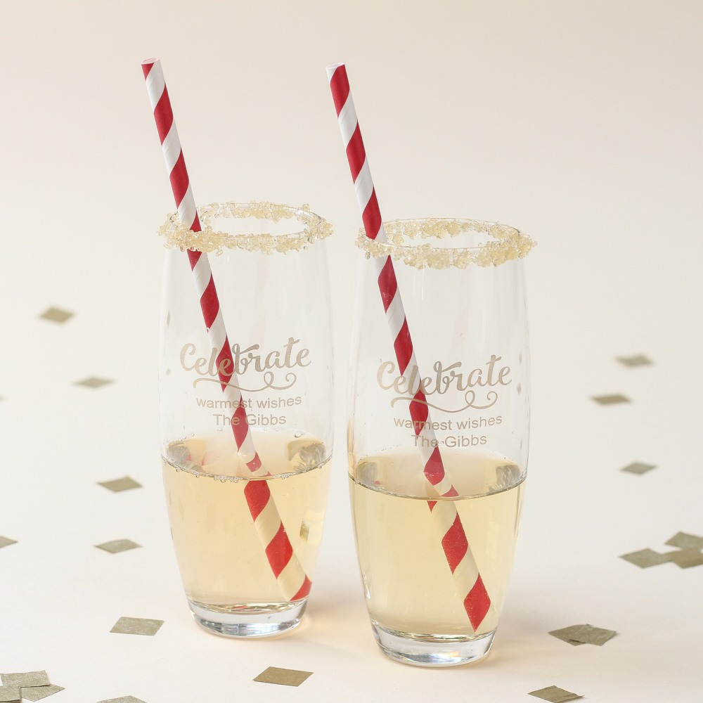 Personalized Celebrate Stemless Champagne Flutes