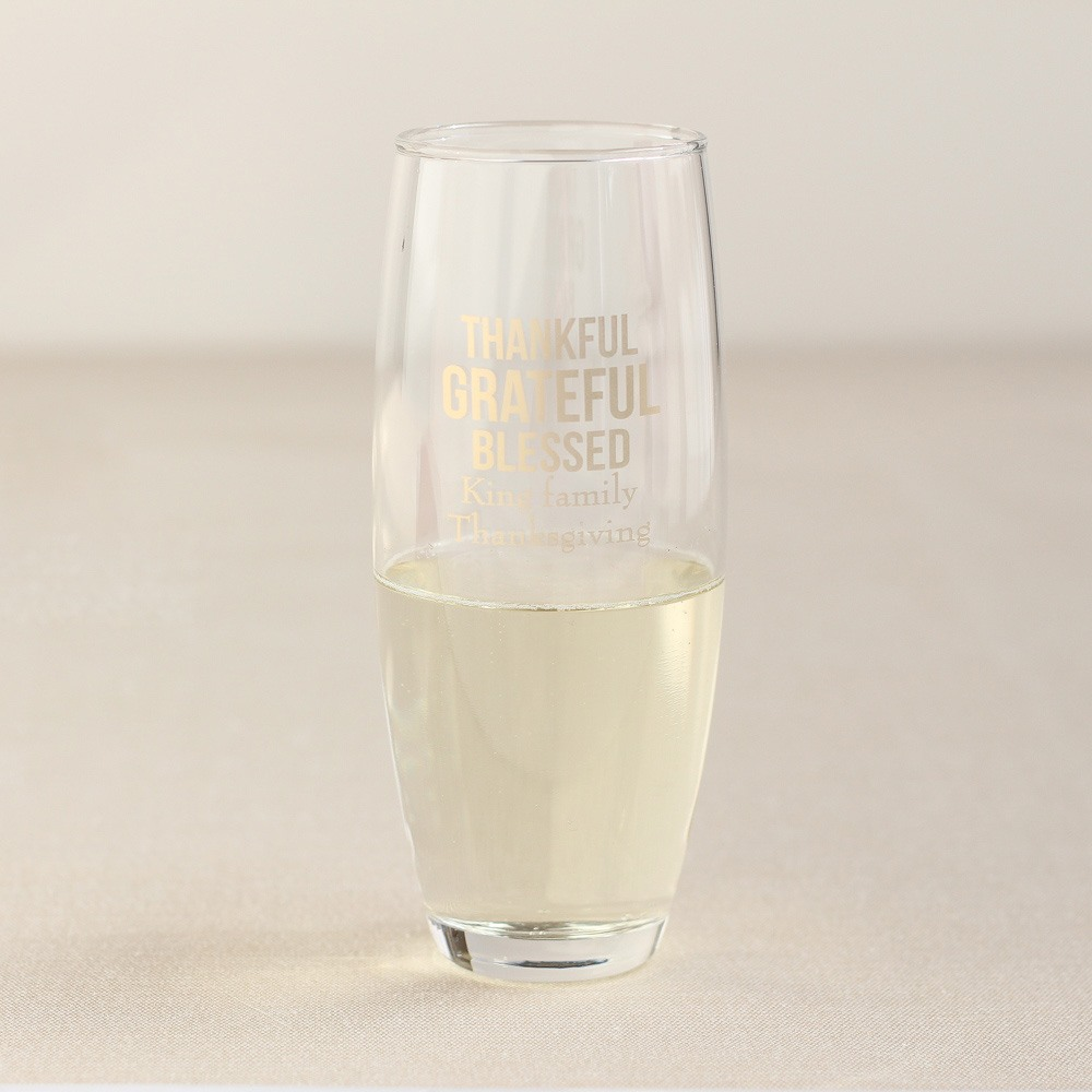 Personalized Thanksgiving Stemless Champagne Flute
