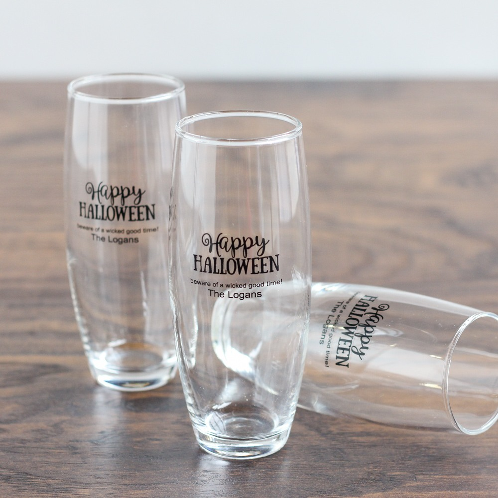 Personalized Halloween Stemless Champagne Flutes