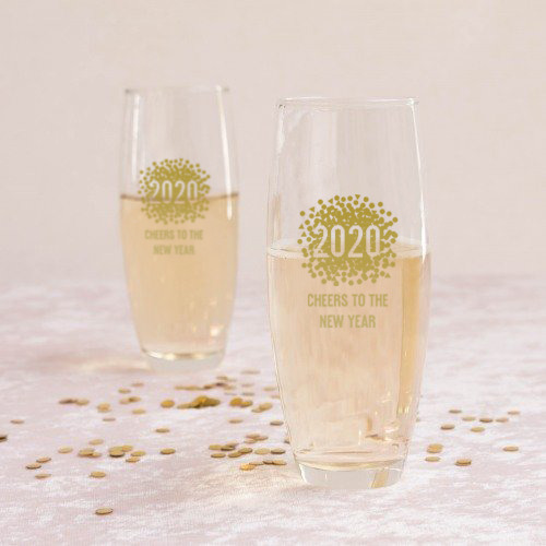 Personalized New Years Stemless Champagne Flutes