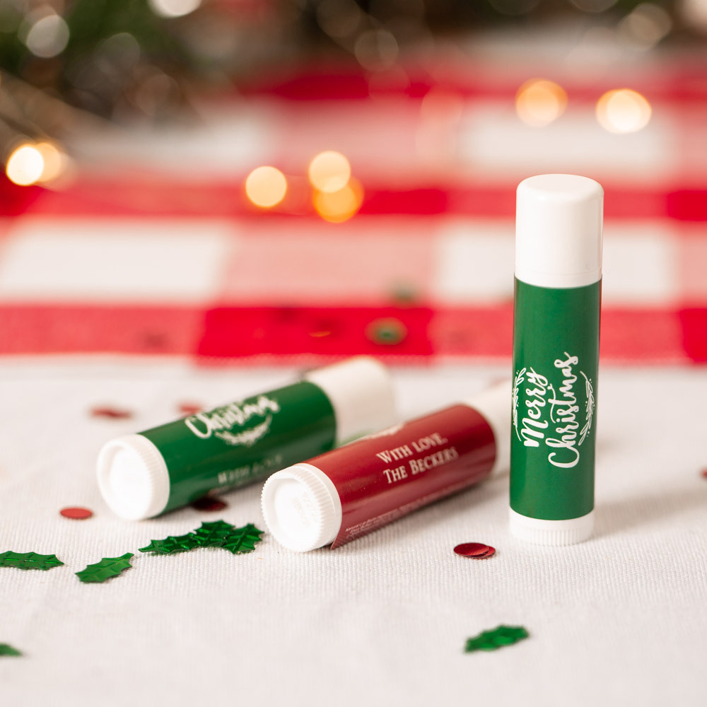 Personalized Happy Holiday's Party Lip Balm Favor