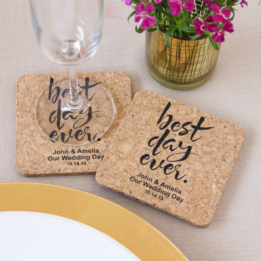 Personalized Best Day Ever Cork Coasters