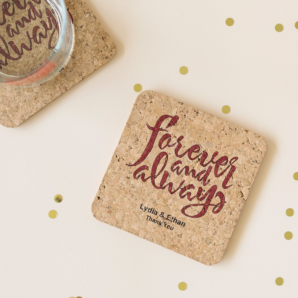 Personalized Forever and Always Cork Coasters