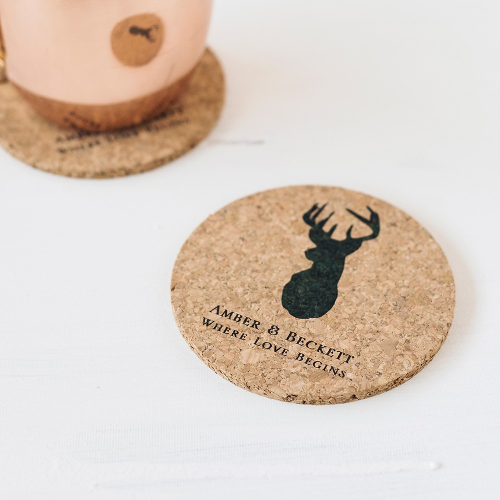 Personalized Woodland Cork Coasters
