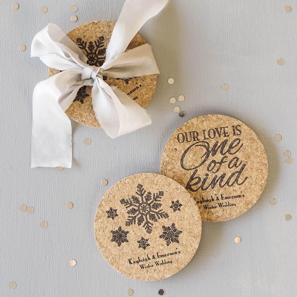 Personalized Winter Themed Cork Coasters