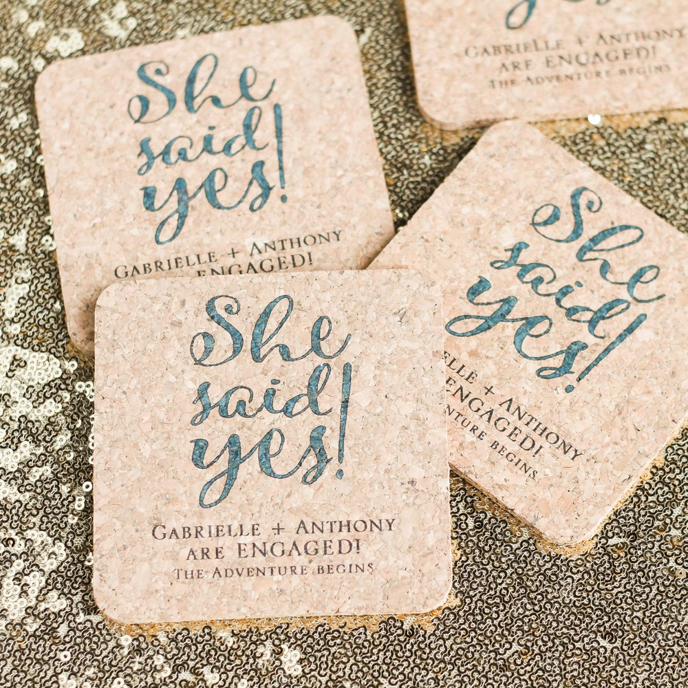 Personalized She Said Yes Cork Coasters