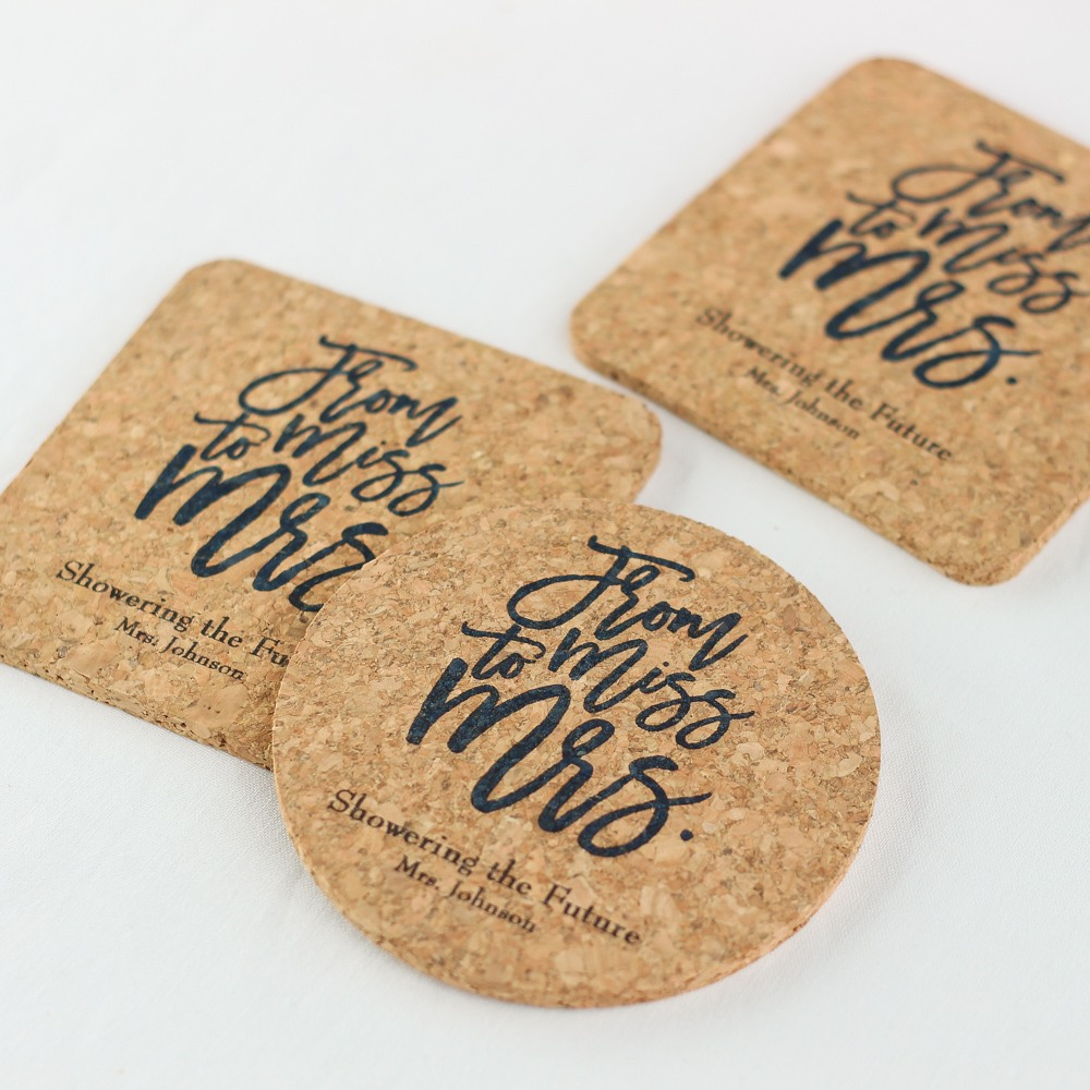 Personalized Miss to Mrs Cork Coasters