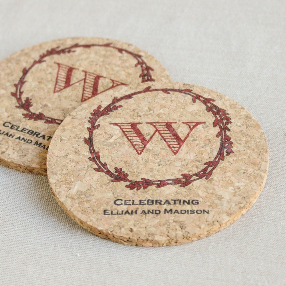 Personalized Rustic Wreath Cork Coasters