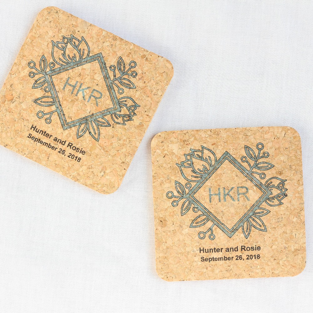 Personalized Floral Diamond Cork Coasters