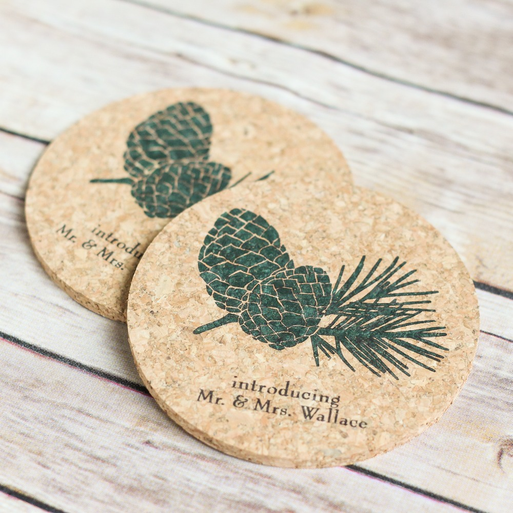 Personalized Pinecone Cork Coasters