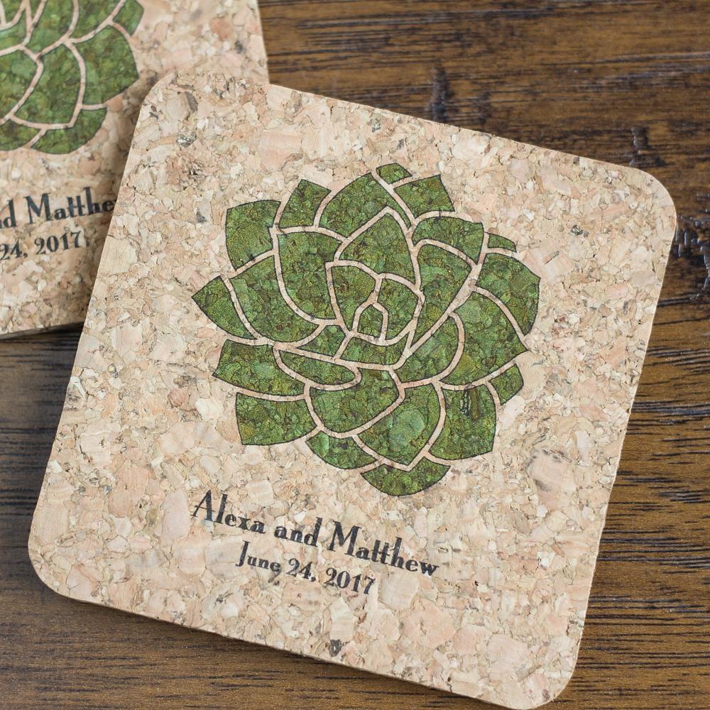 Personalized Succulent Cork Coasters