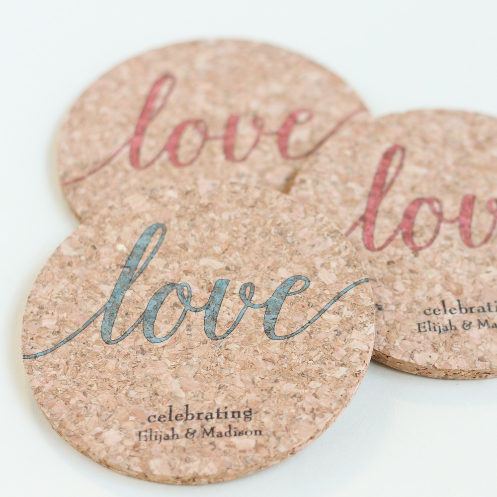 Personalized Love Script Cork Coasters