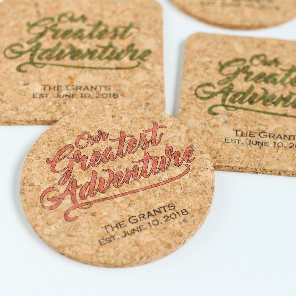 Personalized Greatest Adventure Cork Coasters