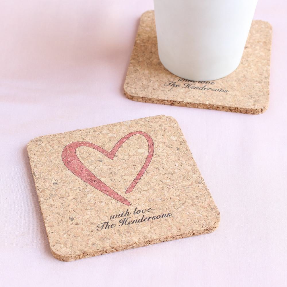 Personalized Heart Cork Shaped Coasters
