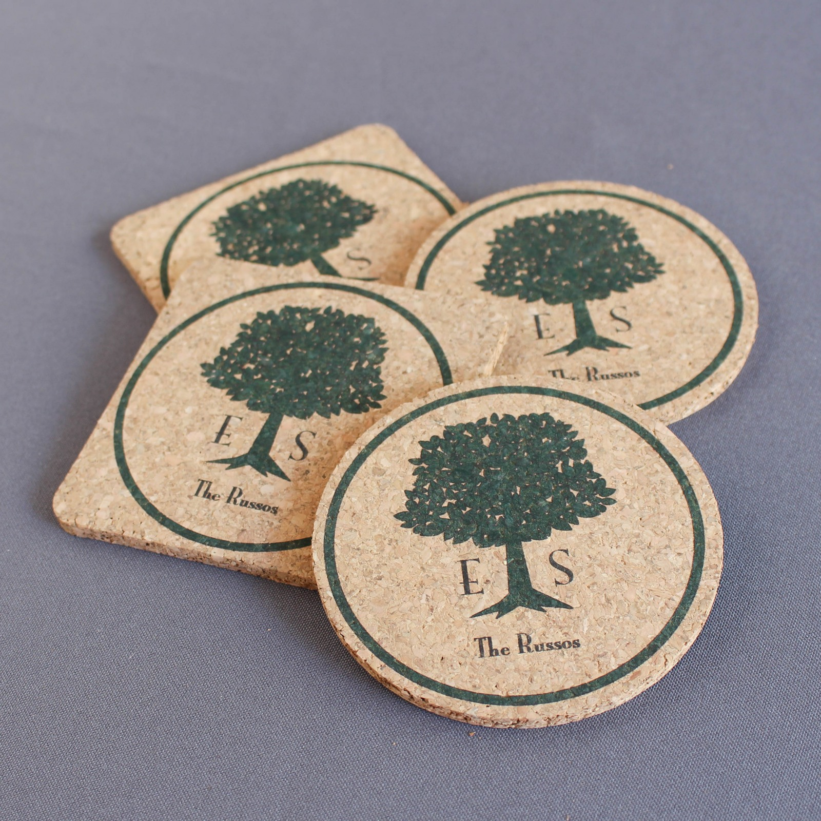 Personalized Wedding Tree Cork Coasters