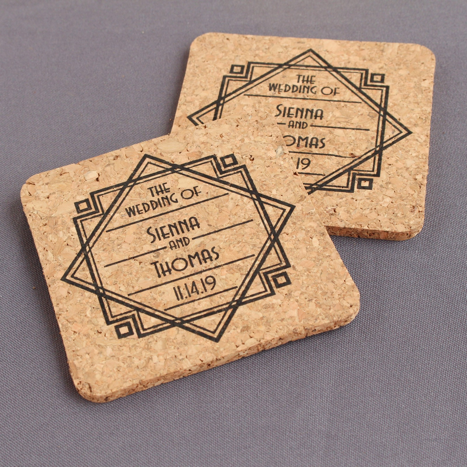 Personalized Modern Deco Cork Coasters