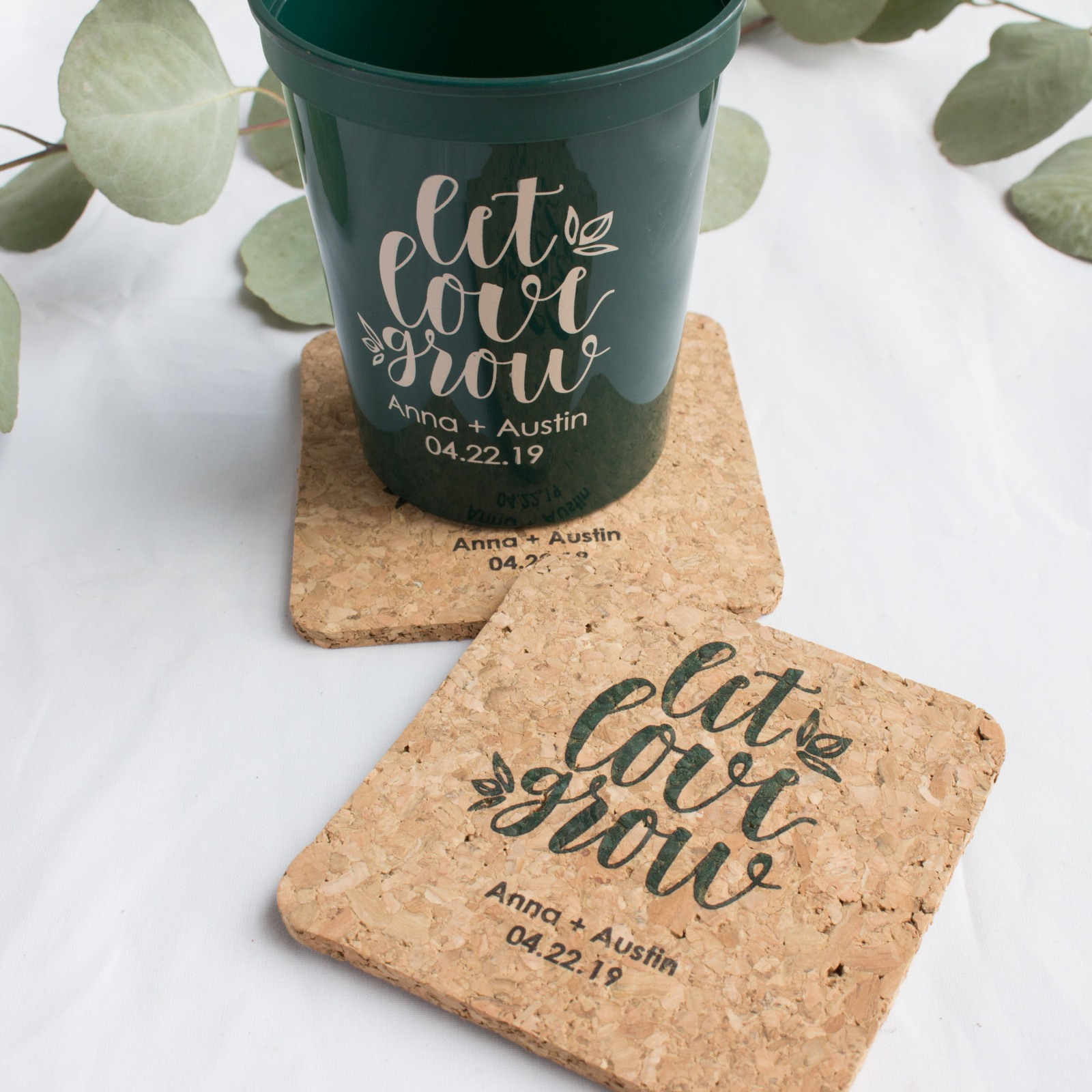 Personalized Let Love Grow Cork Coasters