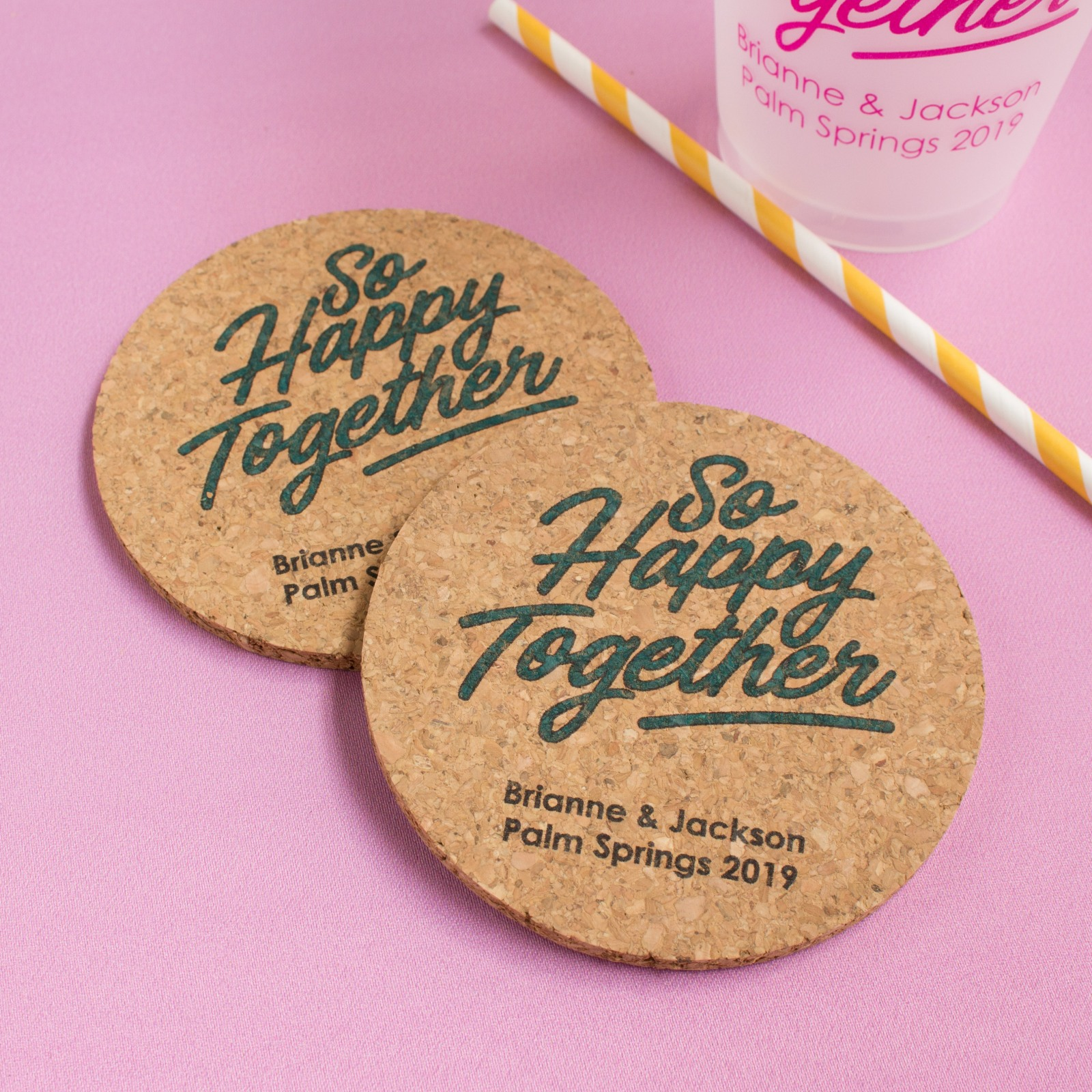 Personalized Happy Together Cork Coasters