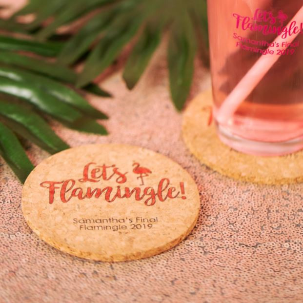 Personalized Let's Flamingle Cork Coasters
