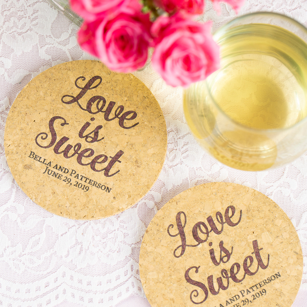 Personalized Love is Sweet Cork Coasters