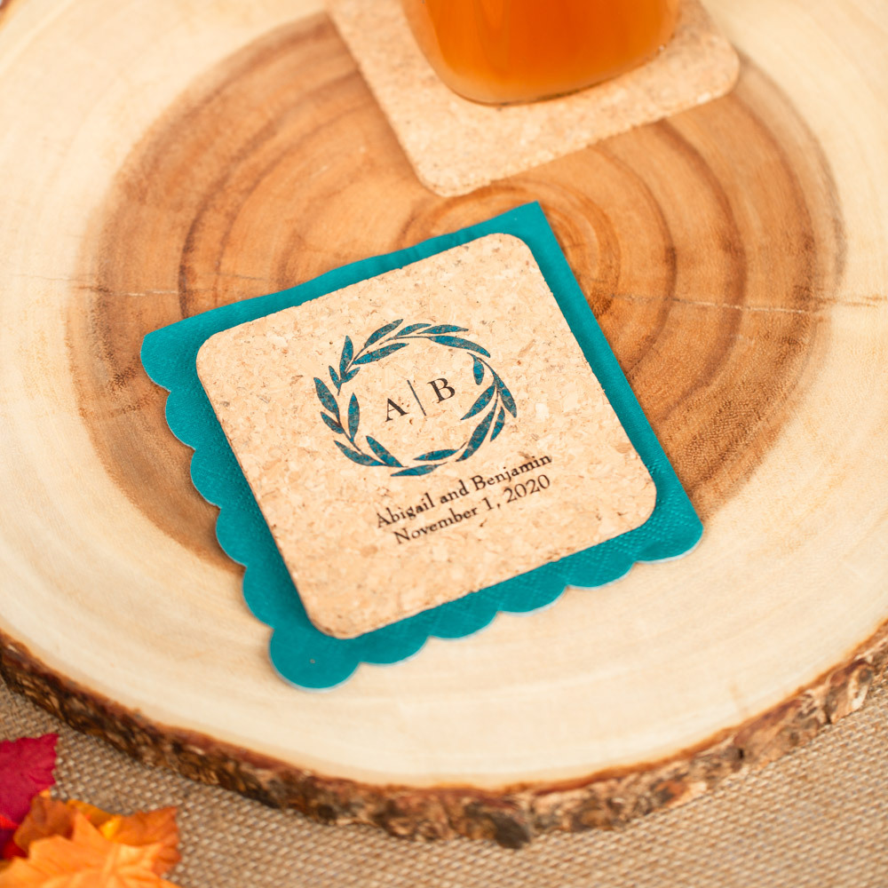 Personalized Fall Harvest Cork Coasters
