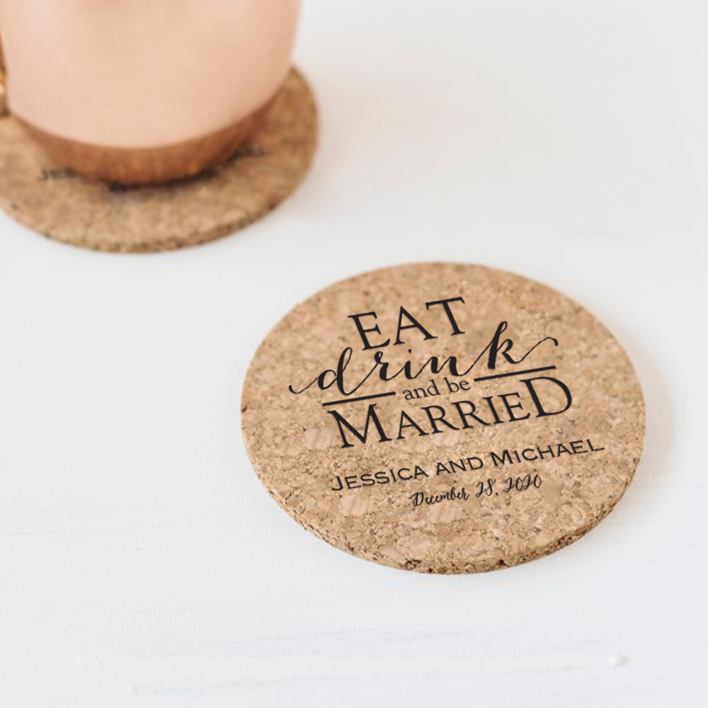 Personalized Eat Drink Be Married Cork Coasters