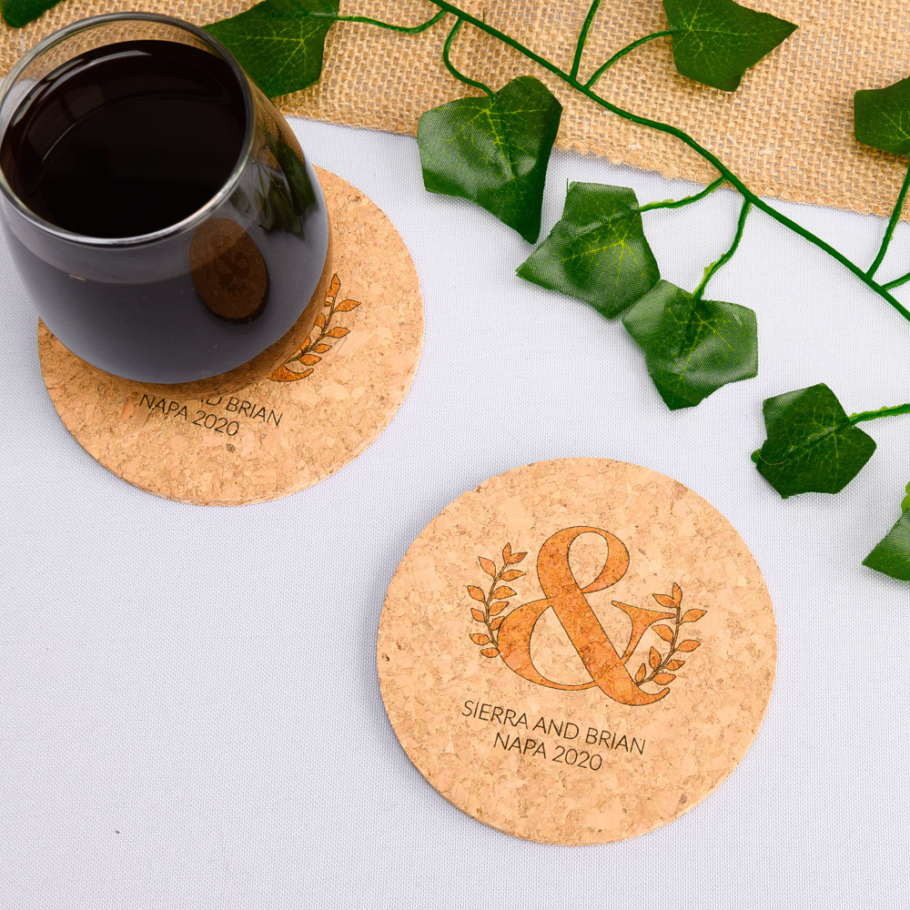 Personalized Eco Ampersand Cork Coasters