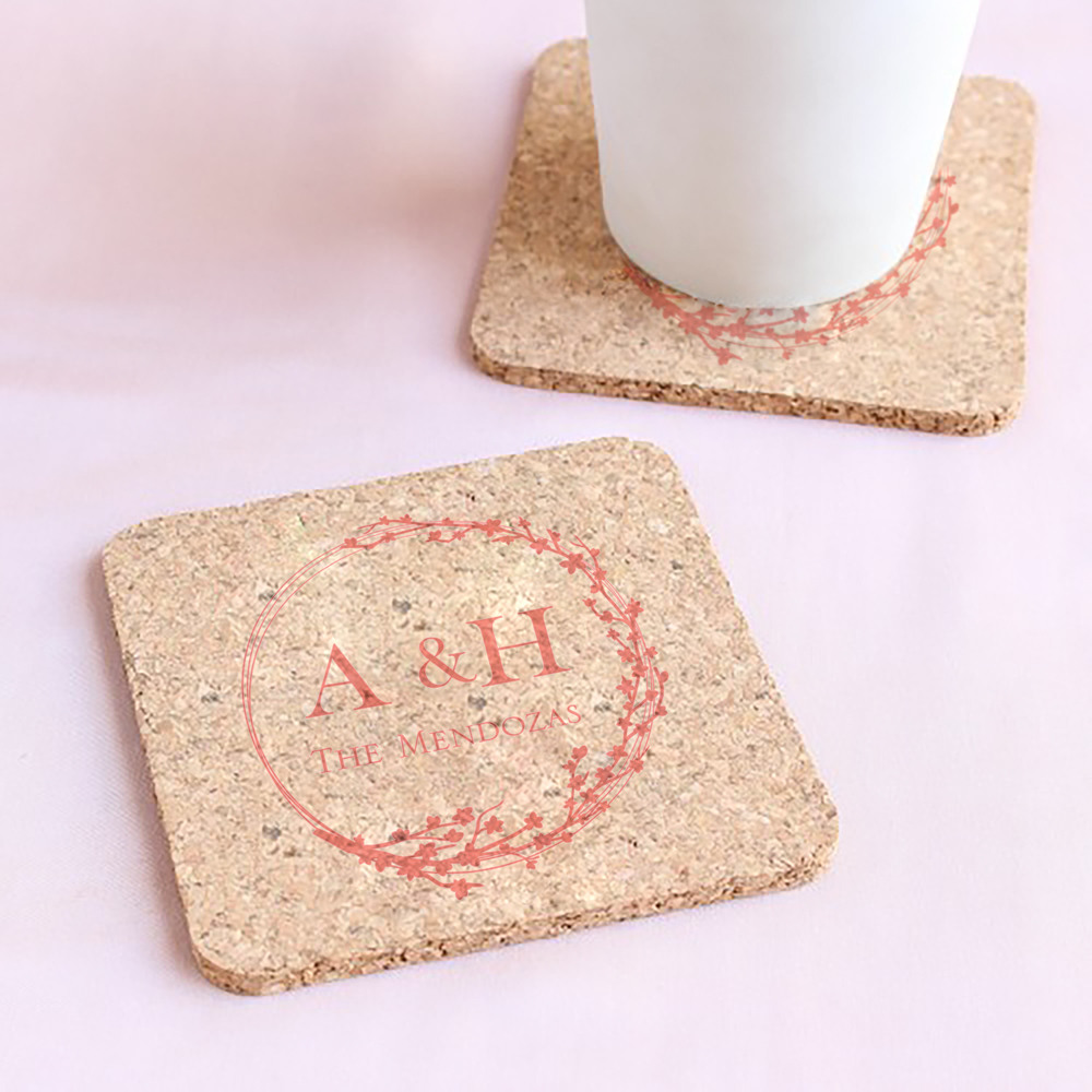 Personalized Cherry Blossom Cork Coasters