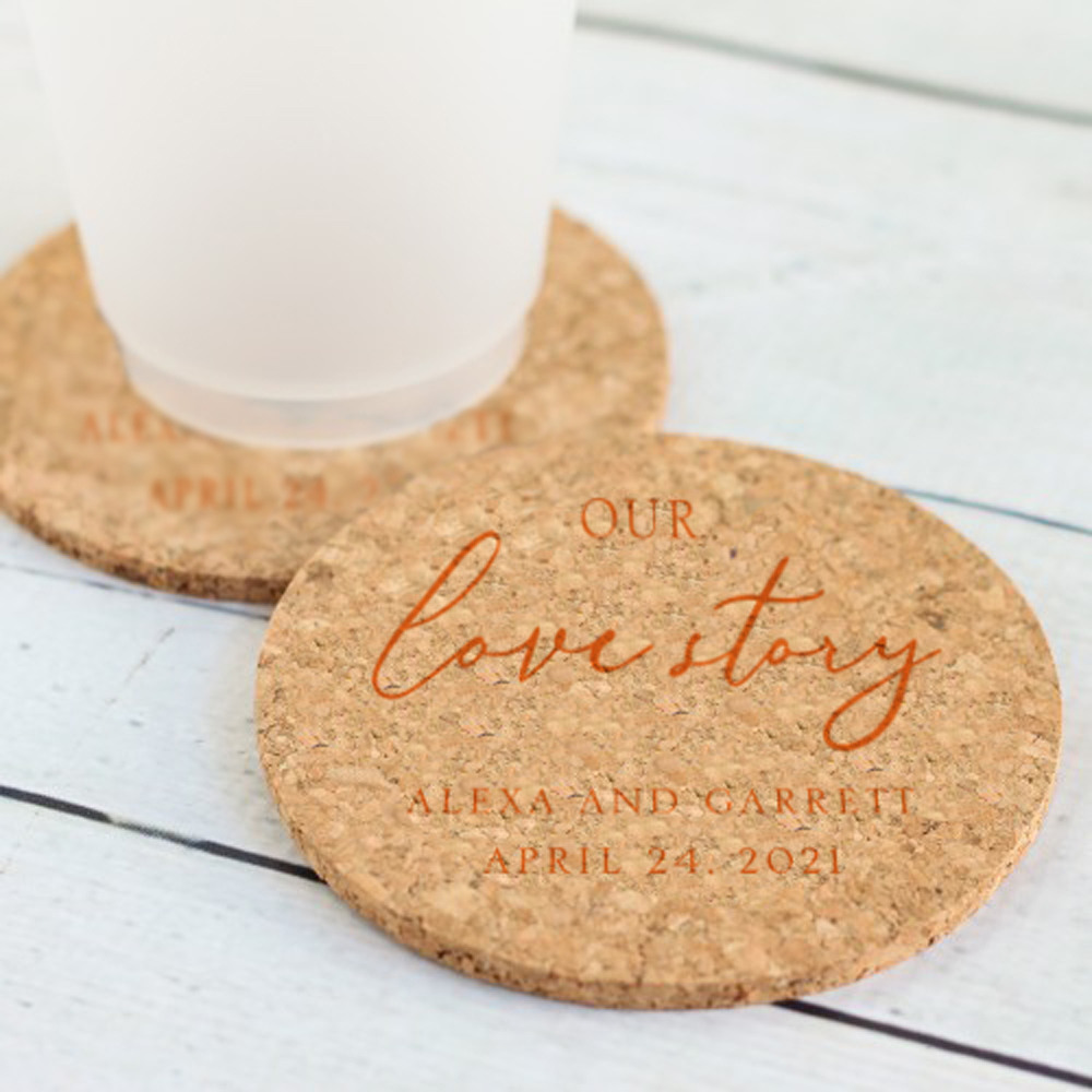 Personalized Our Love Story Cork Coasters