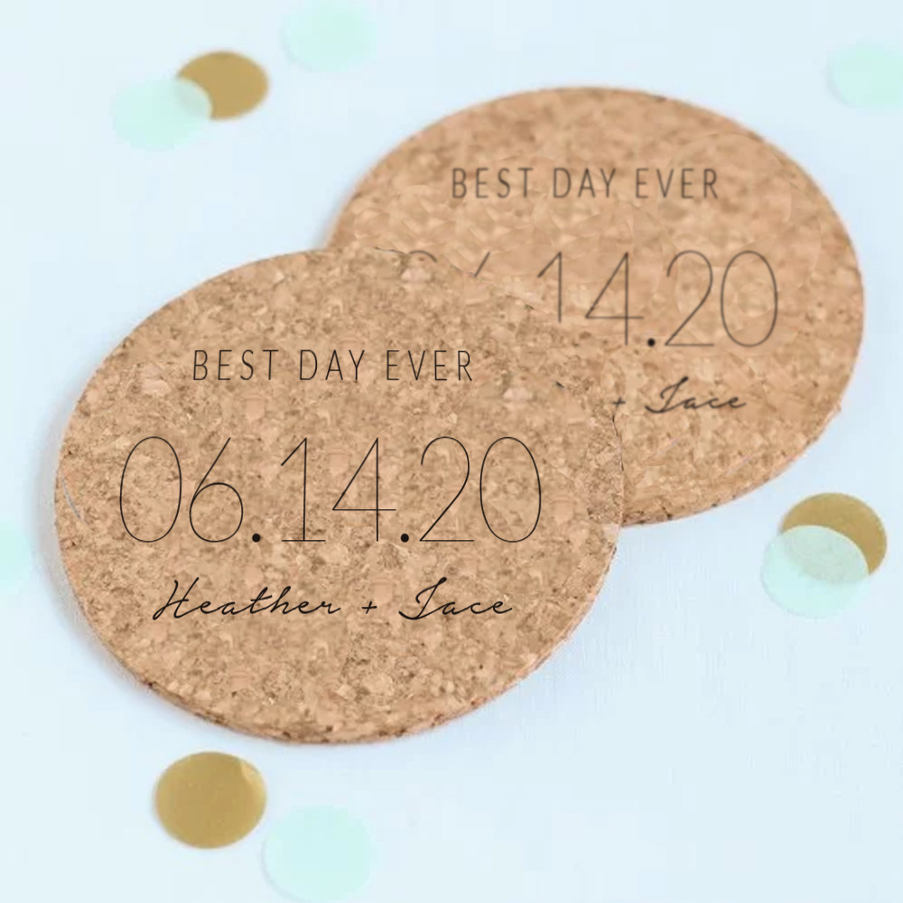 Personalized Wedding Date Cork Coasters