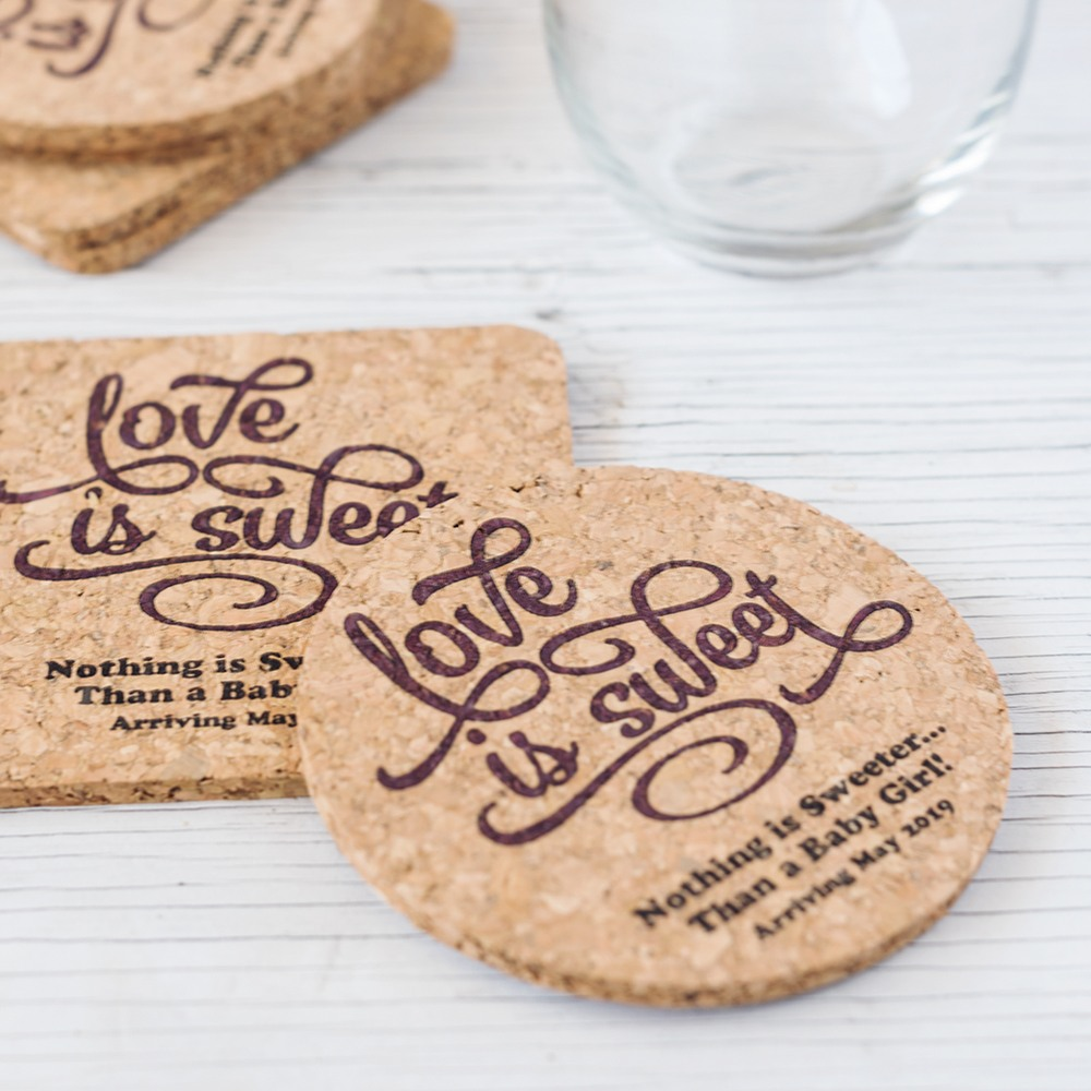 Personalized Classic Baby Shower Cork Coasters