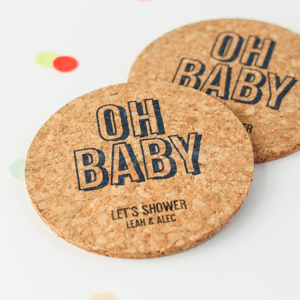 Personalized Oh Baby Cork Coasters