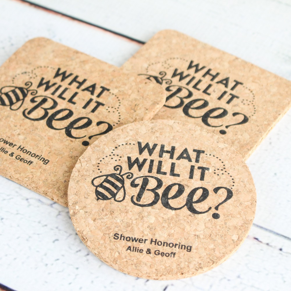 personalized bee reveal cork coasters