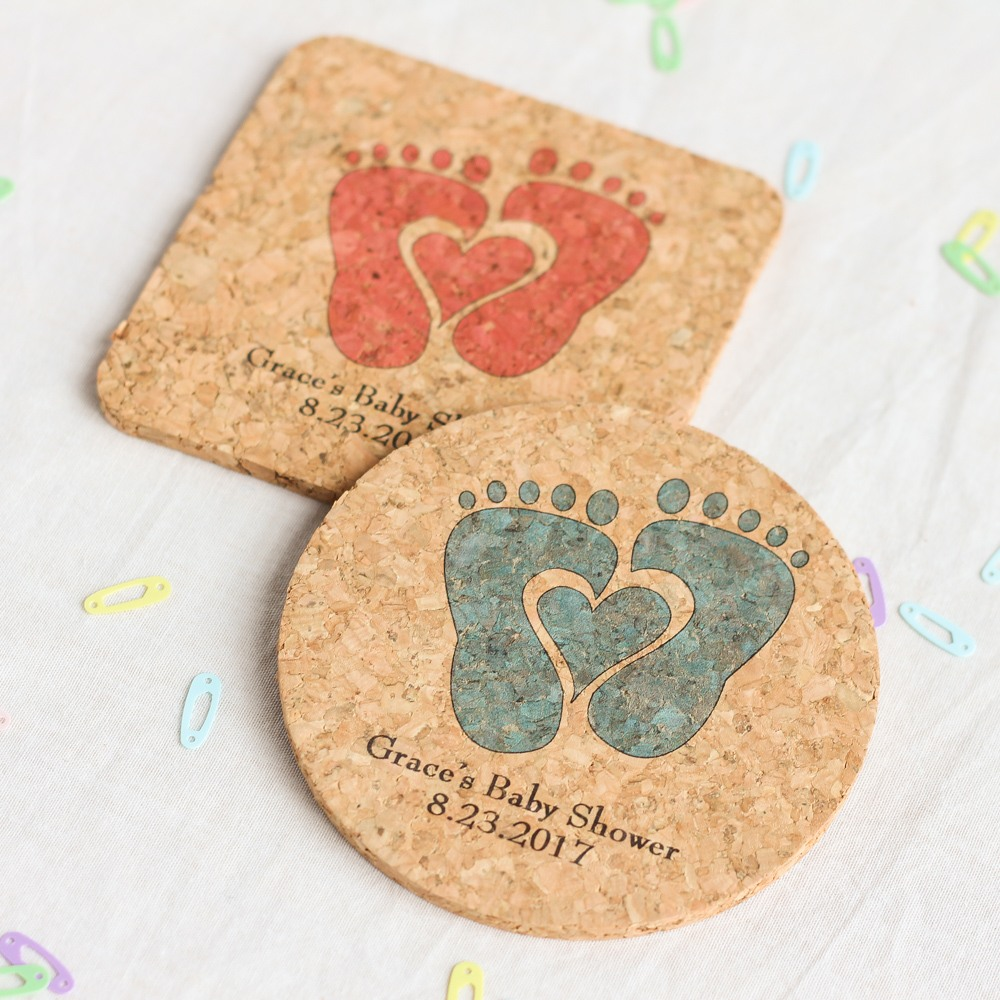 Personalized Baby Feet Cork Coasters