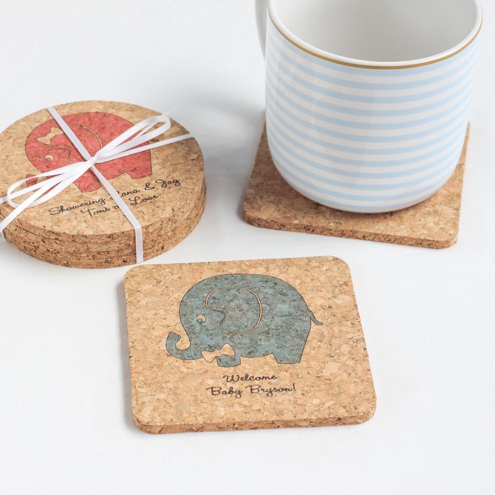 Personalized Elephant Cork Coasters